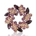 Фиолетовый цветок брошь горный хрусталь позолоченные красивые большие пальцы женские аксессуары для одежды