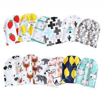 Spring Autumn Cotton Baby Beanie Hats Cartoon Print Newborn Hat Elastic Toddler Infant Cap 1 PC 1
