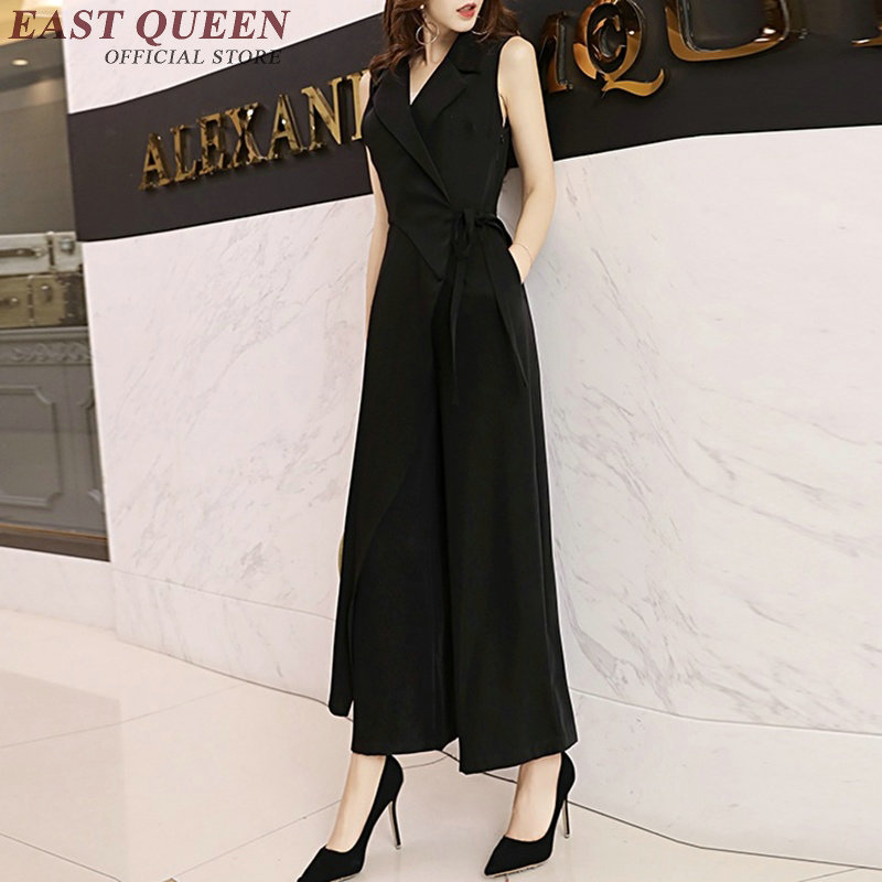 Fahion Chiffon   Jumpsuit   Women Elegant High Waist Loose Wide Leg Women Business Casual Clothing Romper NN0439 CE