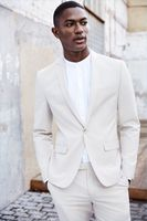 Latest Coat Pant Designs Skinny Blazer Men's Suit for Wedding Ivory Tuxedo Groomsmen Casual Bridegroom Prom 2 Piece DEMO6528