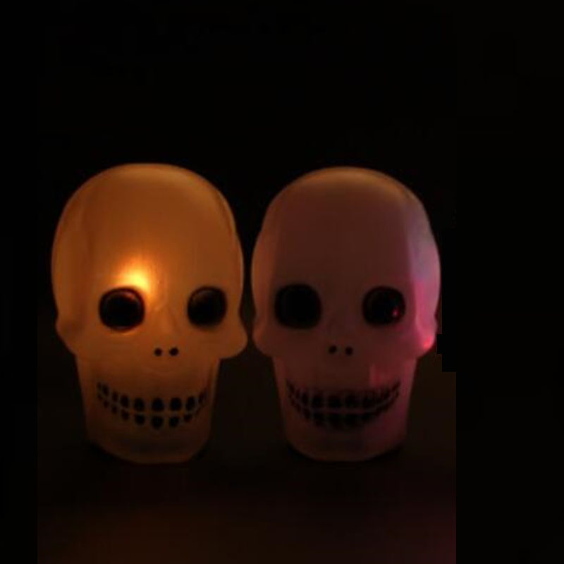 2017 new glow flash led scary skull night light lamp with music halloween party decoration supplies - Online Halloween Music