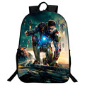 Retail New Popular Polyester 16 Inch Prints Hero Iron Man Black Teenagers Backpacks Kids Baby School Bags for Boys Mochila
