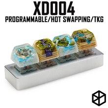 Xd004 xiudi 4% אישית מכאני מקלדת 4 מפתחות מתג נוריות PCB מתוכנת ניתנים להחלפה חמה מאקרו מפתח כסף מקרה מיקרו יציאת