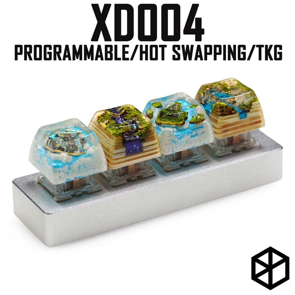 Xd004 Xiudi 4% Custom Mechanical Keyboard 4 Keys Switch Leds PCB Programmed Hot-swappable Macro Key Silver Case Micro Port