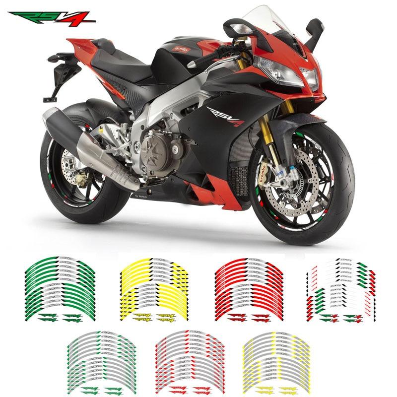 New 12 Pcs Fit  Motorcycle Wheel Sticker Stripe Reflective Decals Rim  For Aprilia RSV4