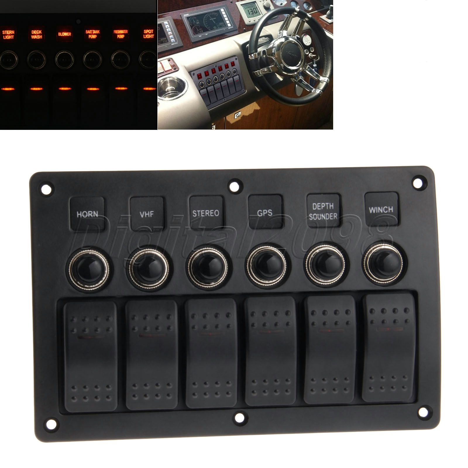 цена на Yetaha 6 Gang Rocker Switch Panel Car Marine Boat Circuit Breakers Overload Protected Car Switch Panel Red Led With Indicator