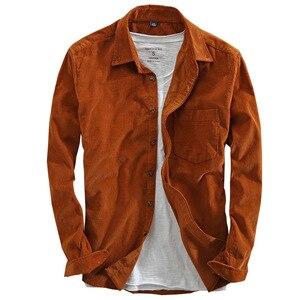Image 5 - Primavera e outono marca de moda estilo japão vintage cor sólida veludo camisa masculina casual fino algodão manga comprida camisas