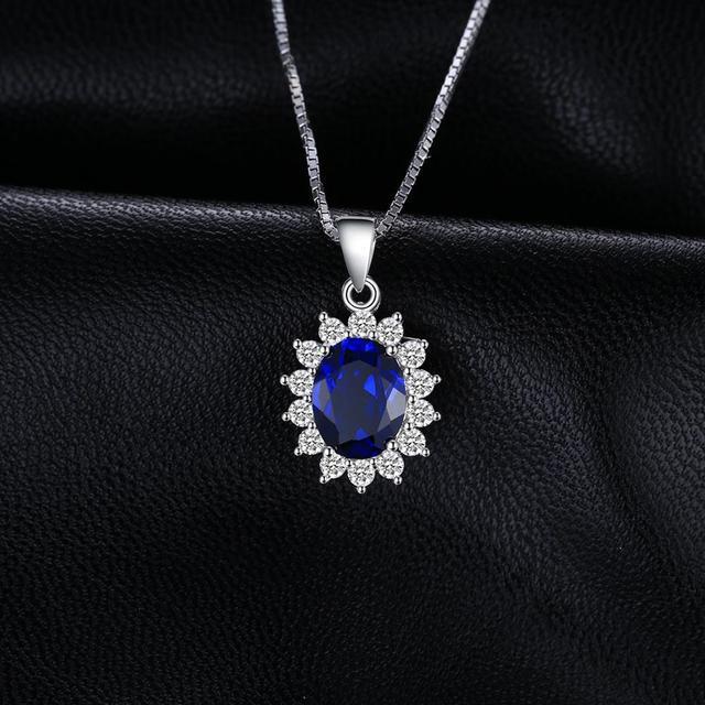 Blue Sapphire Princess Diana Crown Necklace