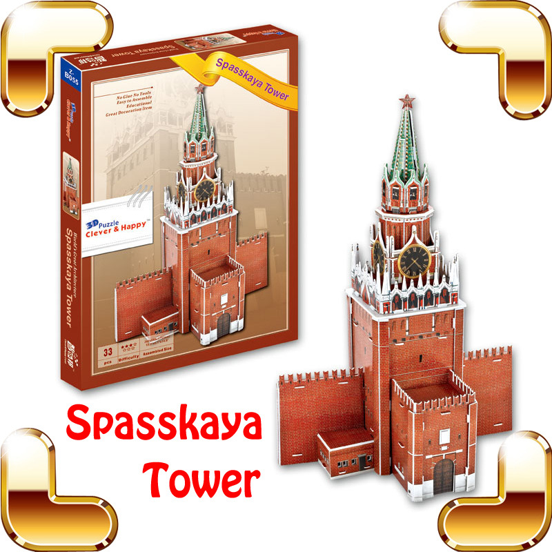 Nouveau bricolage cadeau Spasskaya tour 3D Puzzle modèle construction tour Puzzle apprentissage PCS UP jeu IQ améliorer enfants famille travail jouets présent