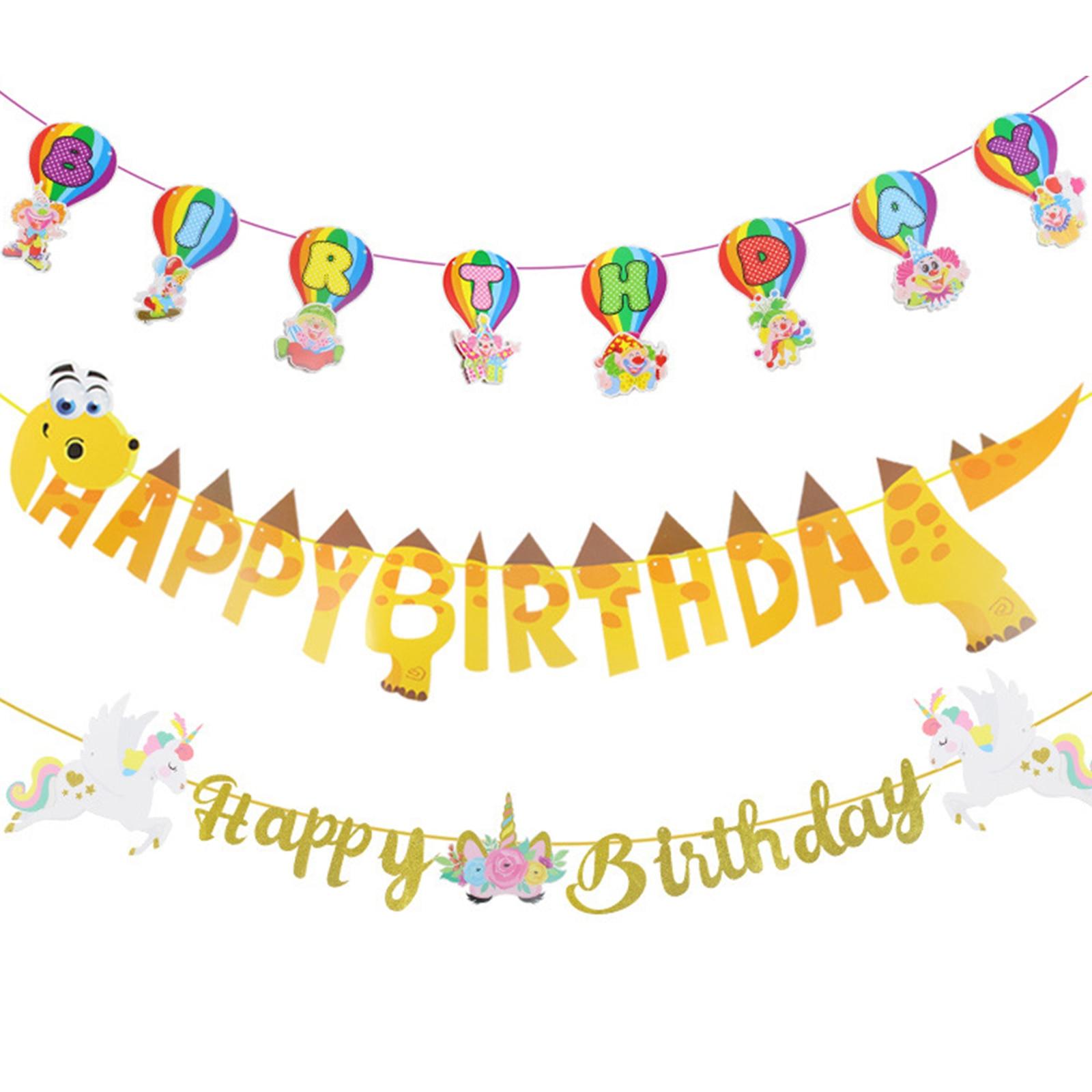 Bébé Animal licorne dinosaure sirène joyeux anniversaire banderoles bannière guirlande drapeau bébé douche anniversaire fête approvisionnement enfants faveur