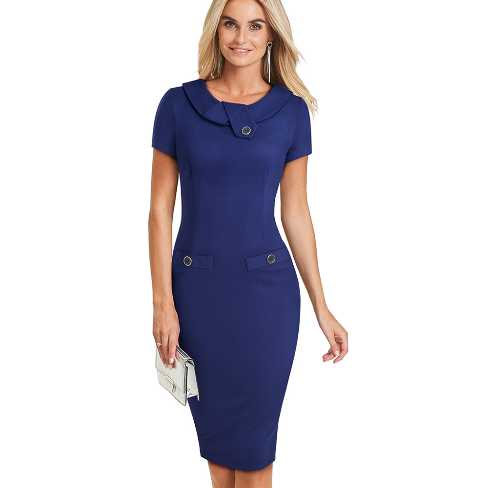 Image 3 - Nice forever Vintage Elegant Solid Color with Button Female Work vestidos Business Bodycon Office Women Sheath Dress B511Dresses   -