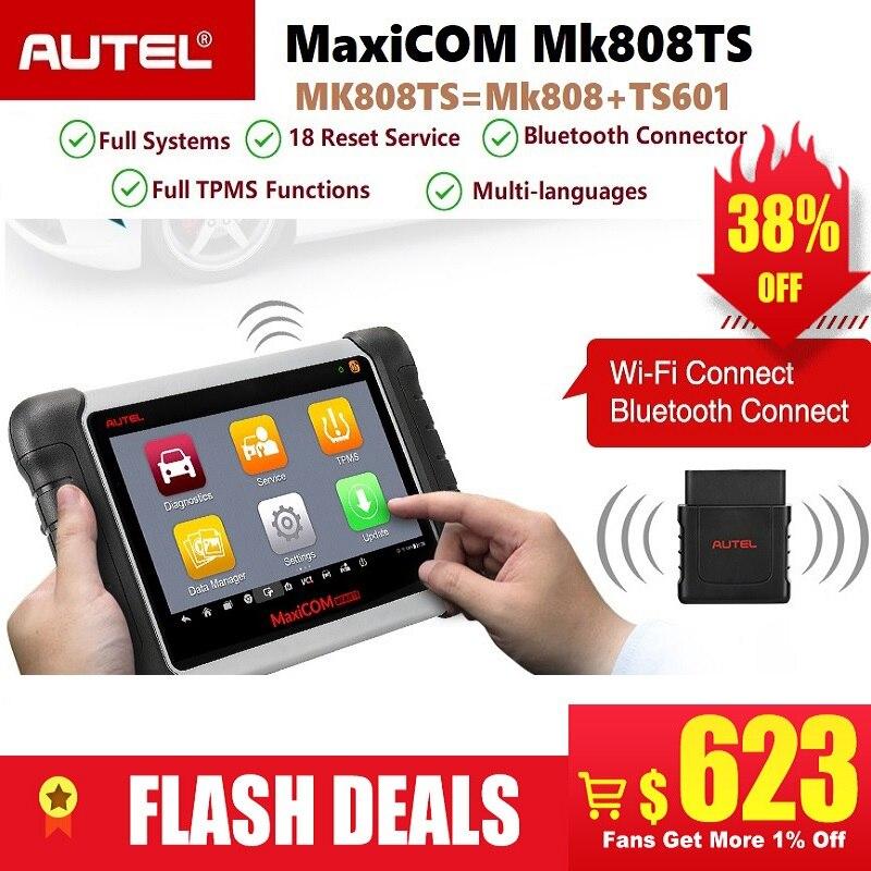 Autel MaxiCOM OBD2 MK808TS Bluetooth Profissional Serviço de Ferramenta de Verificação de Diagnóstico Do Carro Scanner de Programação TPMS Sensor PK MK808 TS608