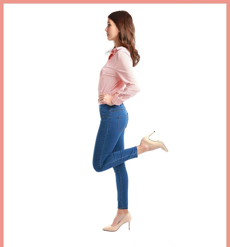 Autumn Winter minimalist Women Denim Skinny Stretch Fake Front Pocket Medium Waist Washed Blue Slim Elastic Lady Jeans 4
