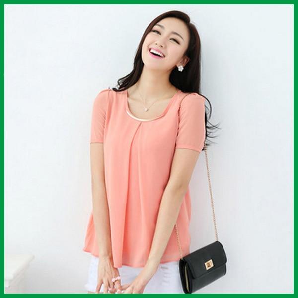 Solid Pink All Express Womens Tops Fashion 2014 Summer Chiffon Shirt