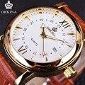 ORKINA Clássico Pulseira de Couro de Ouro Relógio de Quartzo Caixa de Aço Inoxidável de Alta Qualidade Pulseira de Couro Relógios Homens Heren Horloge