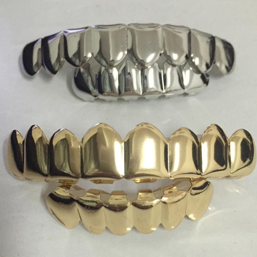 8-Tooth-FREE-SHIPPING-REAL-SHINY-REAL-GOLD-PLACTING-Top-Bottom-GRILLZ-Bling-Mouth-Teeth-Caps