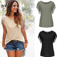2019 Fashion Women Cotton Tassel Casual T-shirt Sleeveless Solid Color Tees Short Sleeve O-neck Women's Clothing t shirt