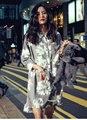 Новый 2017 Нерегулярные Цветок Печатных Длинные Женщины Блузка Платье Женская три четверти рукавом Свободные Blusas Camisa Feminina Рубашки Топ