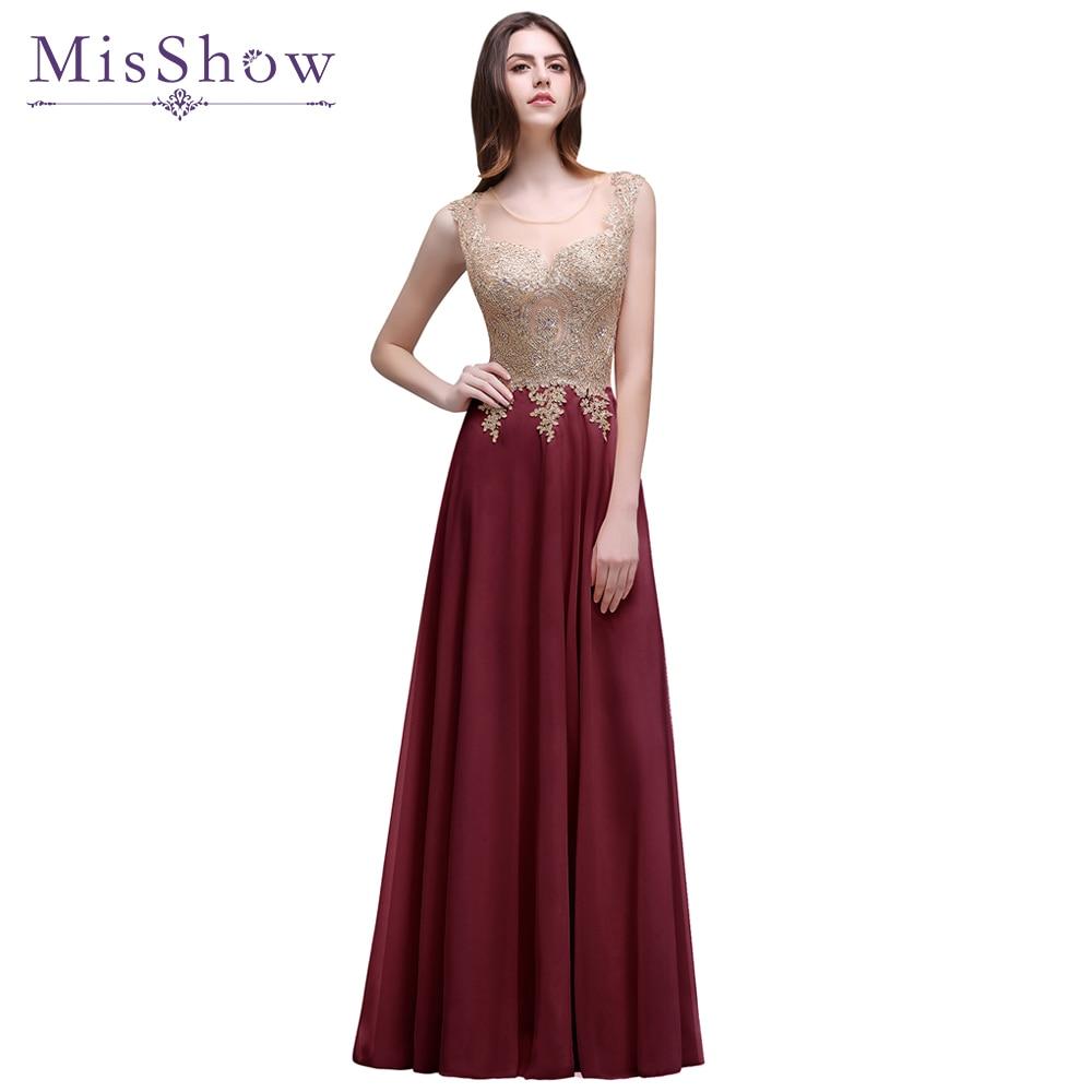 Discount Evening Gowns: Cheap Women Long Evening Dresses 2018 Appliques Burgundy