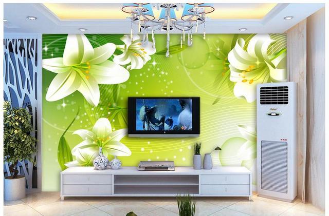 Kundenspezifische 3D Wandbilder Wallpaper Grün Romantische Lilien
