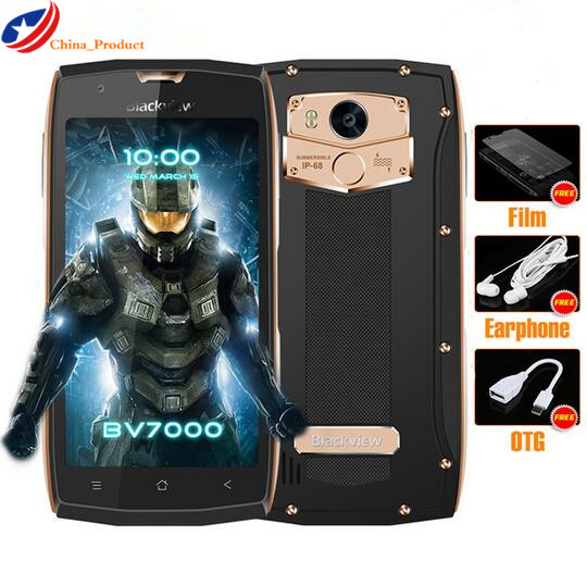 Blackview MTK6737T BV7000 Telemóvel 5.0 polegada FHD Quad Core Android 7.0 GB de RAM GB ROM 8MP 16 2 À Prova D' Água IP68 4G Celular NFC