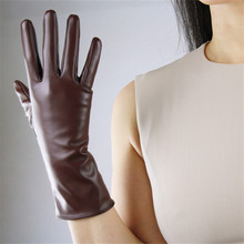 Fashion Women PU leather Gloves Simulation Leather 28cm Long Driving Mittens Silk Lined Spring Autumn P06
