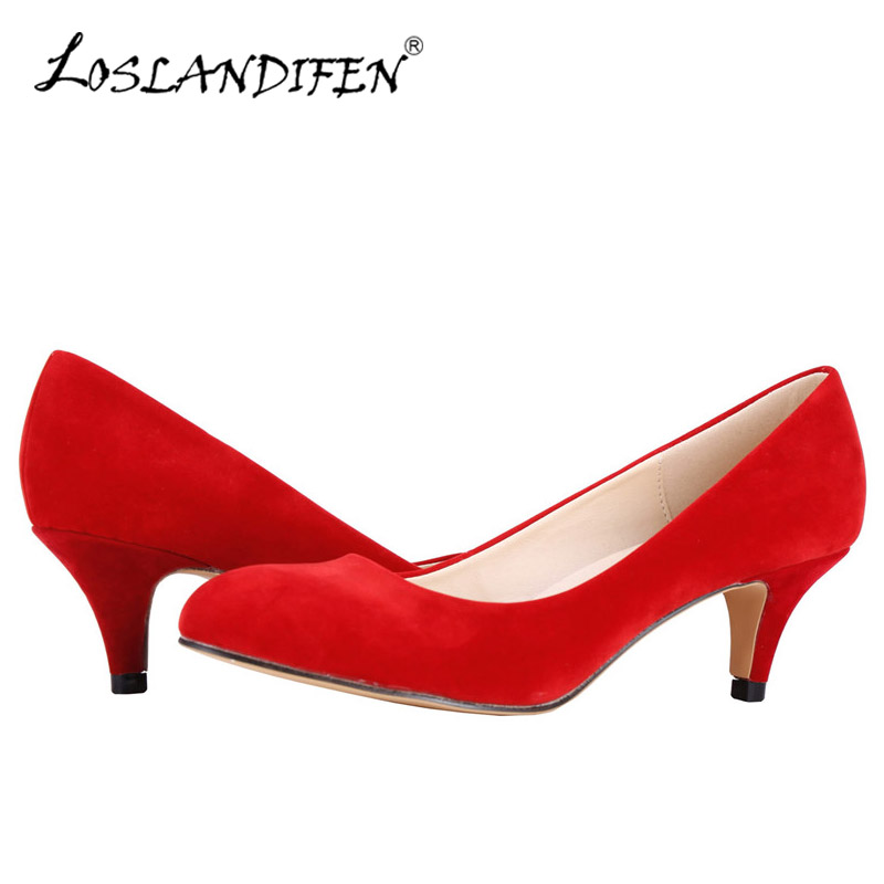 LOSLANDIFEN Plus Size 35-42 Women Pumps Sexy High Heels Shoes Flock Pointed Toe Red Wedding Pump Woman Casual Slip-on Dress Shoe sexy pointed toe high heels women pumps shoes new spring brand design ladies wedding shoes summer dress pumps size 35 42 302 1pa