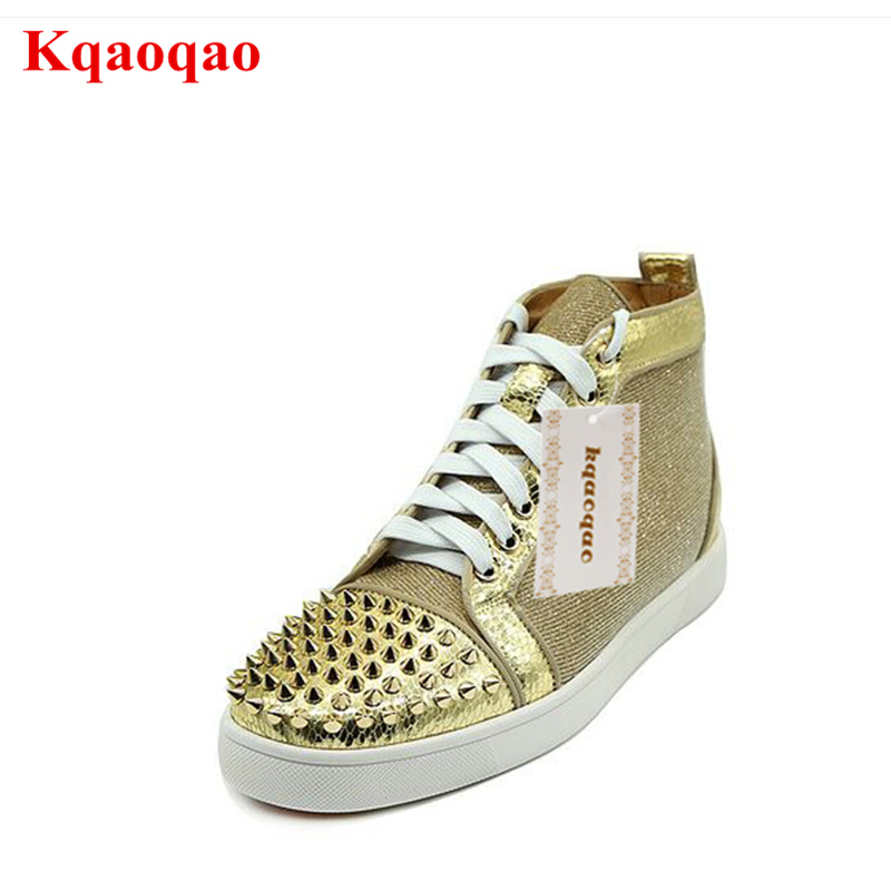 Luxury Brand Men Lace Up Shoes Sapato Masculino Zapatos Hombre High Top Casual Shoes Men Flats Gold Rivets Embellished Round Toe gold sequins embellished open back lace up top
