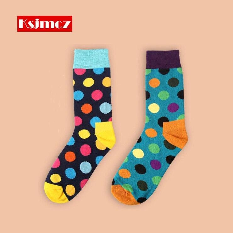1 Pair  KSJMCZ Brand Happy Socks Wave Point British Style Mens Cotton Long Socks 8 Colors