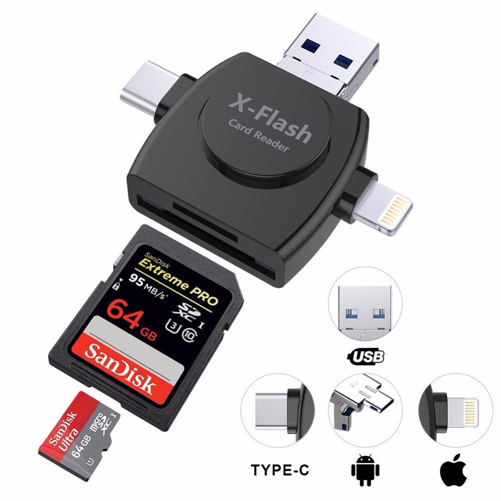 Sago 4 in 1 Type-c/Lightning/Micro USB/ Card Reader Micro SD Card Reader for iPhone/iPad/Android/Mac/PC with OTG Function