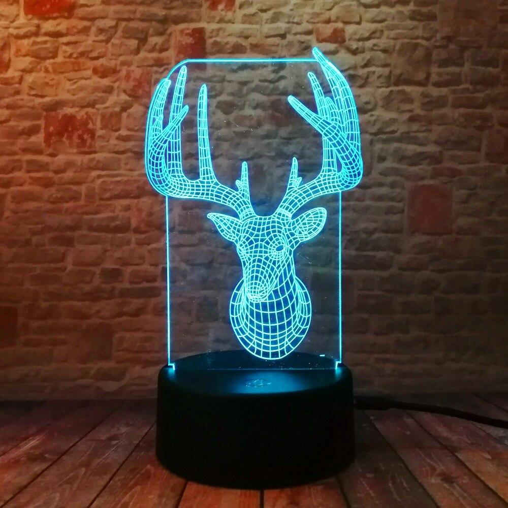 Novelty 3D Long Horned Deer Christmas Decor Night Light Lamp Gadget - Night Lights - Photo 6