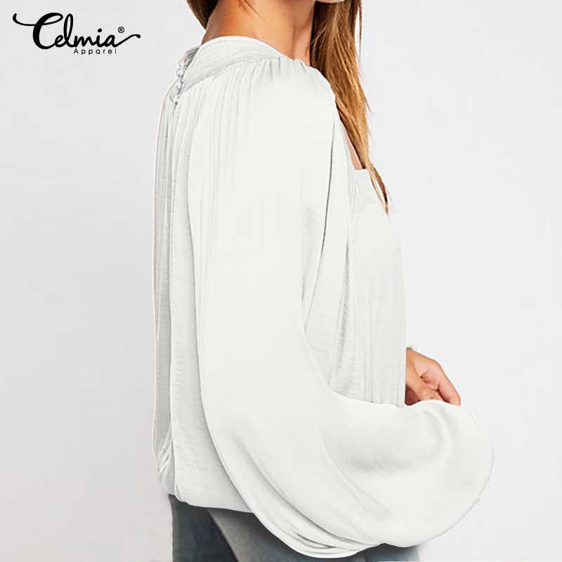 Большие размеры, женские Однотонные блузки, 2019, повседневные женские топы, рубашки с длинными рукавами для работы, Camisa, свободные, однотонные, элегантные, Blusas Feminias