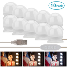 5/10 LED Bulbs Wall Lamp Light Vanity Makeup Mirror 3 Colors Brightness Adjustable Lighted Bathroom Cosmetic Mirror Light Lamp