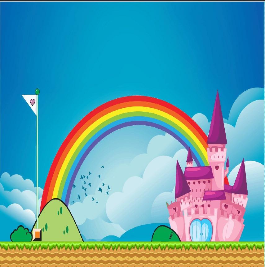 10x10ft Blue Sky Birds Colors Rainbow Arch Gate Super Flag