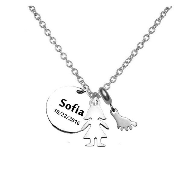 kids girl name necklace pendant with feet charm necklace stainless