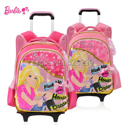 Barbie Cartoon Children Trolley Wheels School Student Books Bag Rolling Backpack Rucksack For S Grade Class 1 2 In Bags From Luggage On
