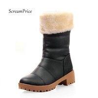 สีดำรองเท้าฤดูหนาวหญิงผู้หญิงหนาหิมะรองเท้าที่ทำจากขนสัตว์รอบนิ้วเท้ากลางClafบู๊ทยางแต่