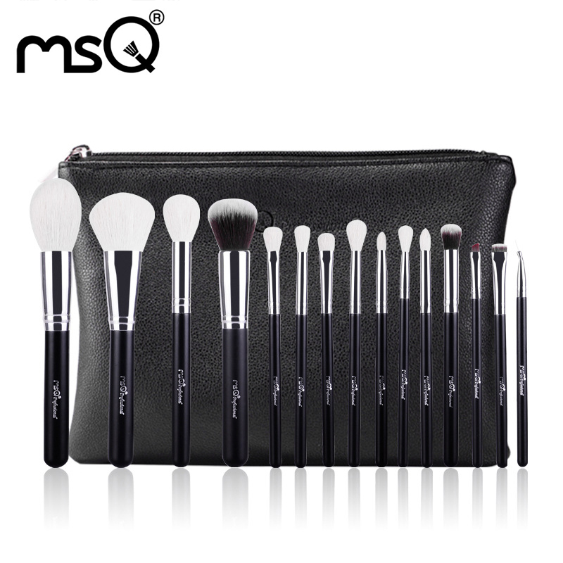 Brand Women 15 pcs Makeup Brushes Goat Hair Brush Foundation Eyeshadow Eyeliner Brushes Cosmetic Makeup Brush Kits Travel Bags