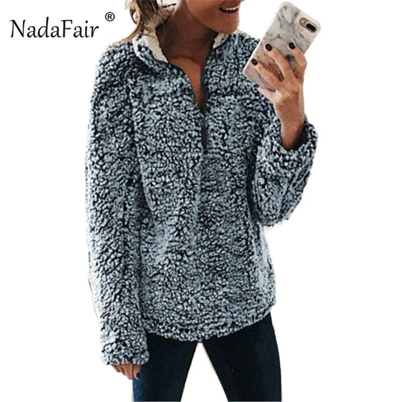 Nadafair Zip Up Fleece Winter Oversized Hoodies Women Autumn Faux Fur Warm Plus Size Casual Seatshirt Plush Pullover