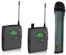 Sem fio Sistema de Microfone para DSLR Camera Gravação de Entrevista, 2 transmissor + 1 receptor, Handheld mic