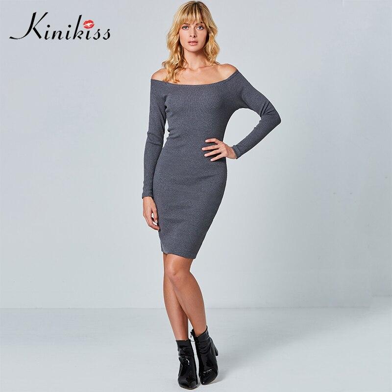558f59a7268e28 Kinikiss 2017 vrouwen grijs bodycon jurk uit schouder herfst slanke sexy  club jurk backless paars gebreide trui jurk slash hals in Kinikiss 2017  vrouwen ...