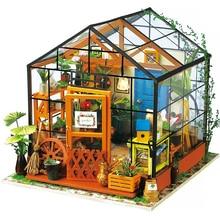 Casa de boneca em miniatura diy casa de bonecas com móveis de madeira casa brinquedos para crianças kathy casa de flores robotime dg104