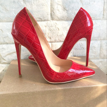 2019 Fashion free shipping red python Patent Leather Poined Toe Stiletto Heel high heel shoe pump HIGH-HEELED SHOES dress
