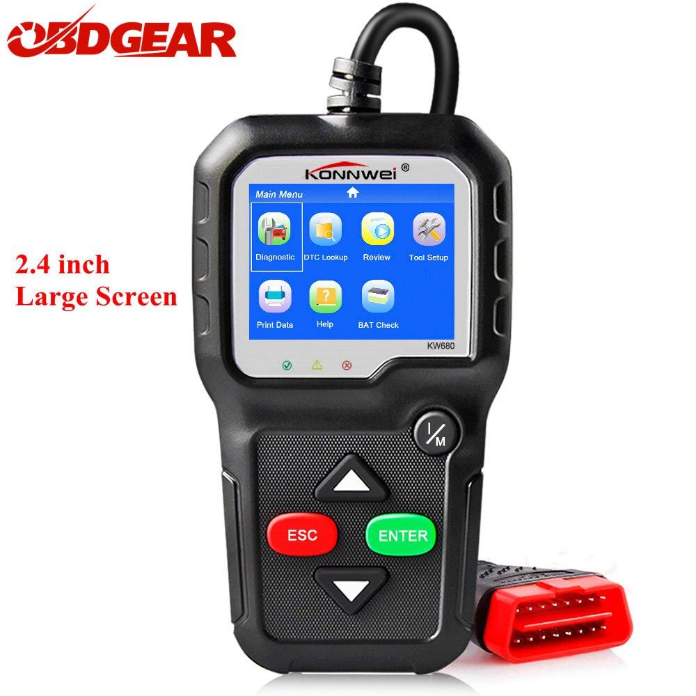 KONNWEI KW680 OBD2 Автомобильная сканер Авто диагностический инструмент автомобиля код читателя OBD 2 EOBD двигатель читать проверьте лучше, чем AD310 ...