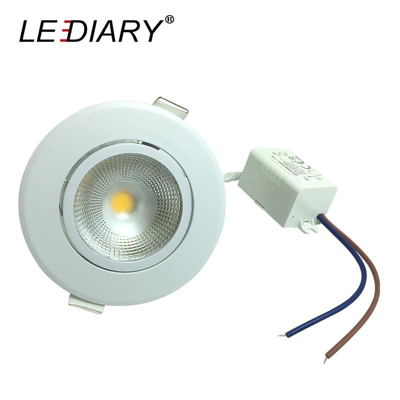 lediary 10pcs lot round recessed led downlight 100 240v cob led spot lamp 5w angle adjustable. Black Bedroom Furniture Sets. Home Design Ideas