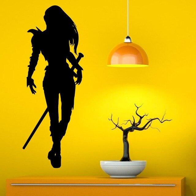 Modern Design Girl Warrior Removable Vinyl Wall Decal Sticker Home ...
