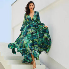 6c1793574cd95 New summer tunic v-neck chiffon beach dress tropical leaves printed green  long sleeve maxi dresses plus size loose vintage dress
