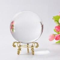 80mm Rare Clear Asian Quartz Crystal Ball Natural Raw Amber Stones Feng Shui Crystals Balls Sphere