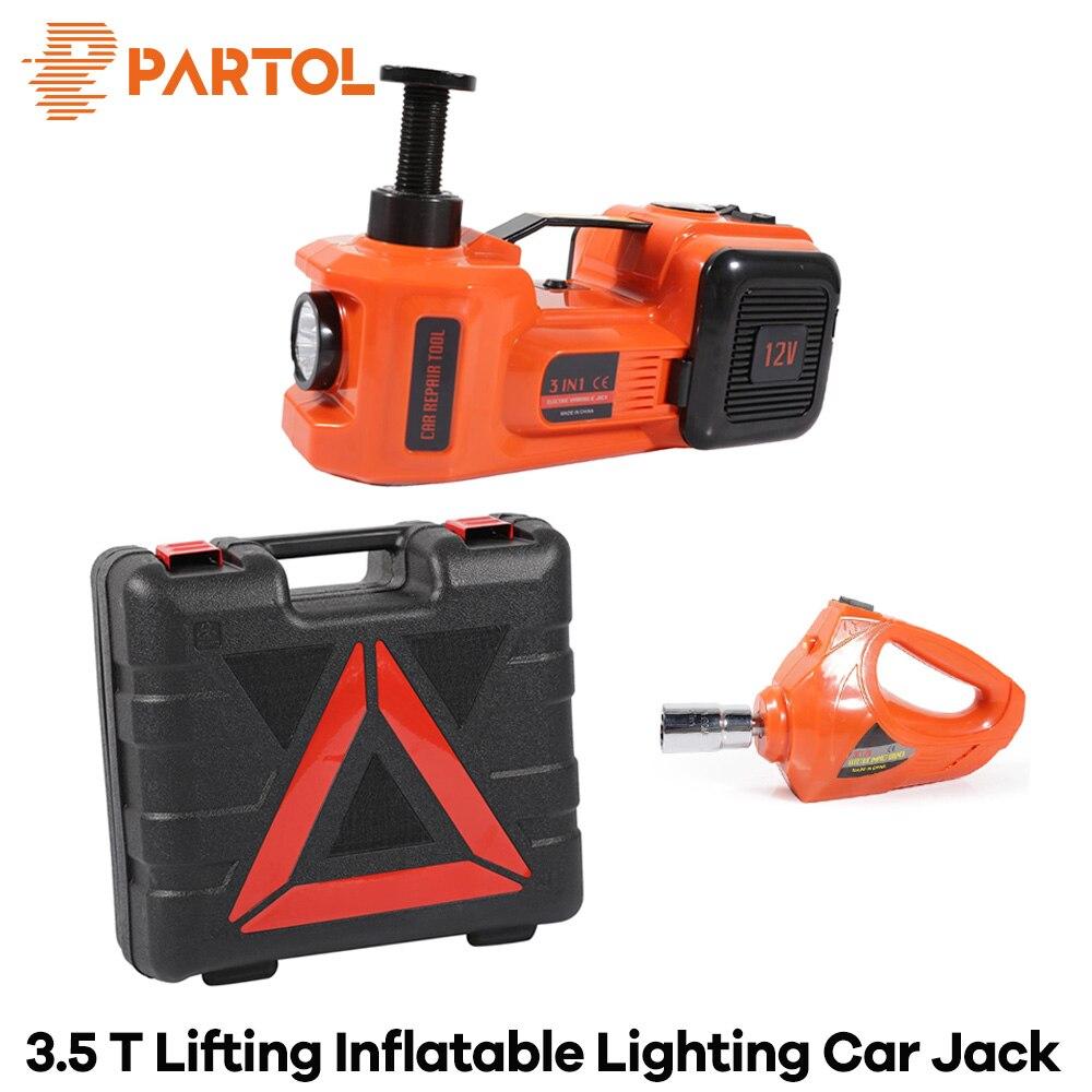 Partol 3 fonctions voiture levage gonflable électrique vérin hydraulique clé à chocs 3.5 tonnes 12 V Auto multi-fonction outil d'entretien