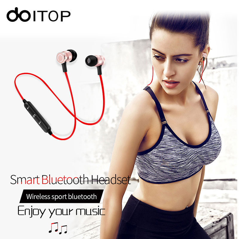 DOITOP S6 Sport Bluetooth Earphone Headset Metal Magnetic Wireless Stereo Running Headphone HIFI Music Earphone with Mic Earbuds hbs 760 bluetooth 4 0 headset headphone wireless stereo hifi handsfree neckband sweatproof sport earphone earbuds for call music
